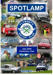 July 2008 Centenary Year - Plymouth Motor Club