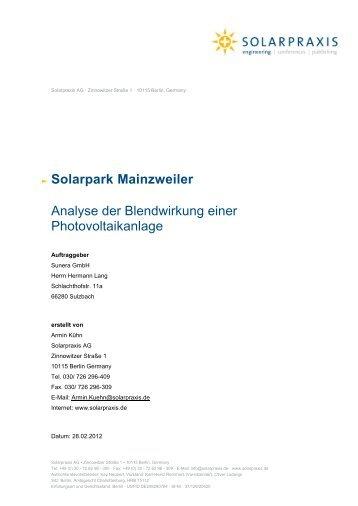 Solarpark Mainzweiler Analyse der Blendwirkung einer - Ottweiler