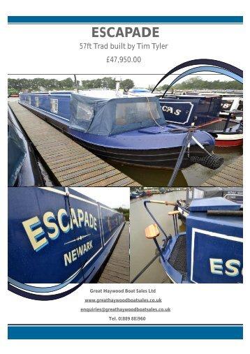 Escapade Brochure Main Page - Great Haywood Boat Sales