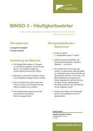 BINGO 3 - Häufigkeitswörter - Lesekultur macht Schule