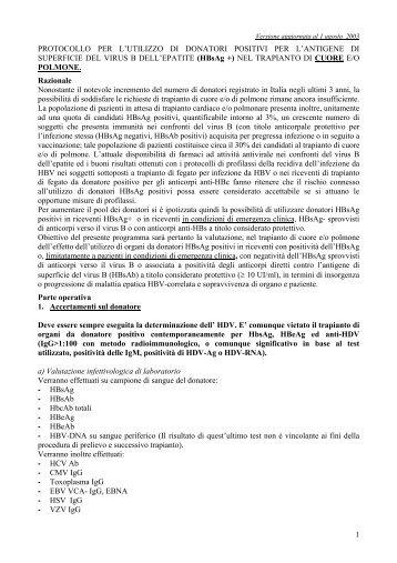1 PROTOCOLLO PER L'UTILIZZO DI DONATORI POSITIVI PER L ...
