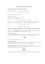Formula Sheet for Final