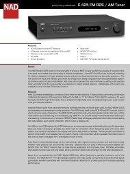 C 425 FM RDS / AM Tuner