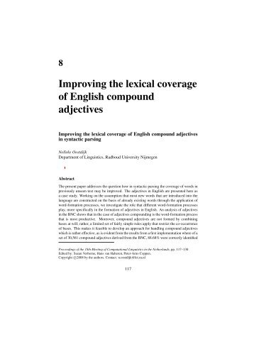 Improving the lexical coverage of English compound adjectives