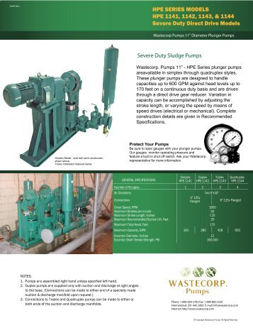 Engineering and Contractor Specs HPE 1141 ... - Wastecorp Pumps