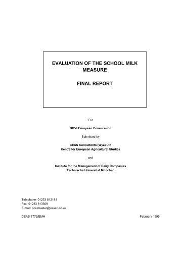 evaluation of the school milk measure final report - European ...