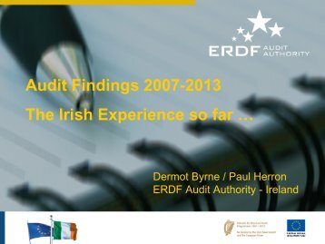 Audit Findings 2007-2013 The Irish Experience so far … - Interact
