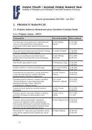 Projekty badawcze [plik PDF] - Instytut Filozofii i Socjologii PAN