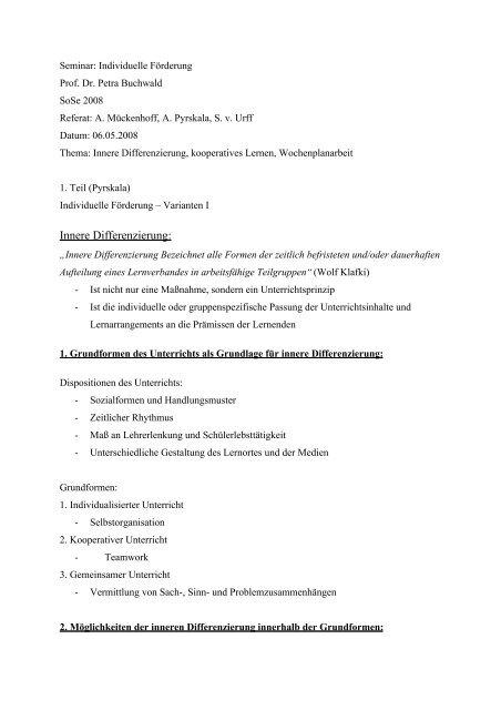 Individuelle Förderung – Varianten I - Petra-buchwald.de