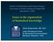 Issues in the organization of biomedical knowledge