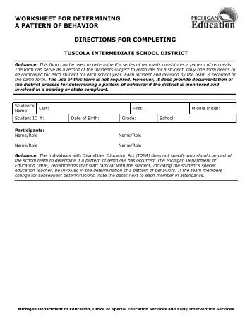 Worksheet for Determining Pattern Behavior Directions - Tuscola ...