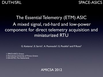 (ETM) ASIC A mixed signal, rad-hard and low-power component for ...