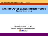Arkistolaitos ja rekisteritutkimus
