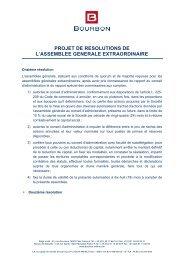 projet de resolutions de l'assemblee generale ... - Bourbon