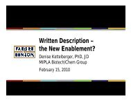 A Heightened Standard of Enablement and Written ... - MIPLA