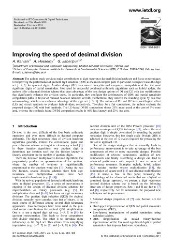 Improving the speed of decimal division - Shahid Beheshti Faculties ...