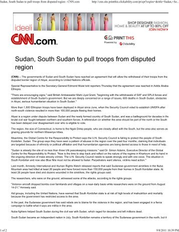Sudan, South Sudan to pull troops from disputed region - CNN.com