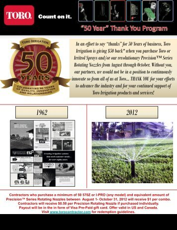 "In an effort to say ""thanks"" for 50 Years of business, Toro Irrigation is ..."