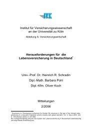 Institut für Versicherungswissenschaft an der Universität zu Köln ...