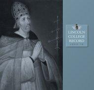 Record 2009-10 - Lincoln College - University of Oxford