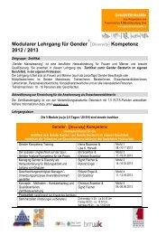 Modularer Lehrgang für Gender 2012 / 2013 - Männerberatung Graz