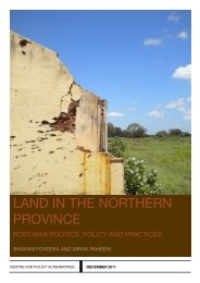 Land Issues in the Northern Province - Centre for Policy Alternatives