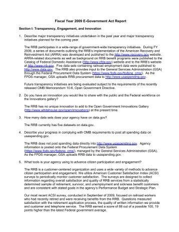 FY 2009 E-Government Act Report - U.S. Railroad Retirement Board