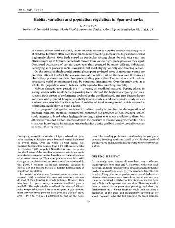 Habitat variation and population regulation in Sparrowhawks