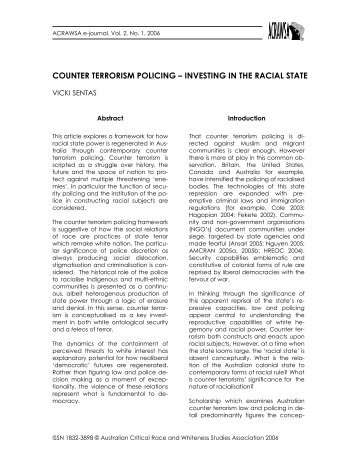 counter terrorism policing – investing in the racial state - Australian ...