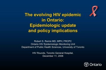 The evolving HIV epidemic in Ontario: Epidemiologic update and ...