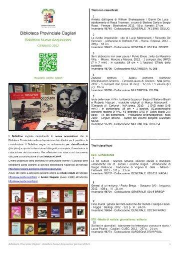 Bollettino Novità gennaio 2013 [file .pdf] - Biblioteca Provinciale di ...