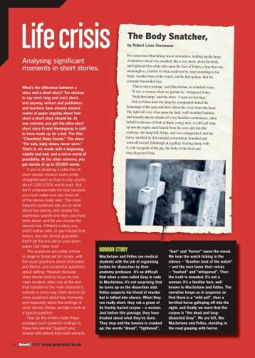 The Body Snatcher, - GCSE English Revision - Result! magazine