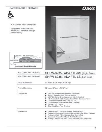 SHFW-6235 / ADA / TL-RS (Right Seat) - Oasis Bath