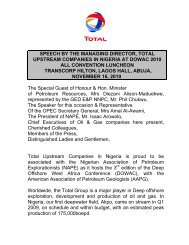 Speech by the Managing Director, Total Upstream ... - TOTAL Nigeria