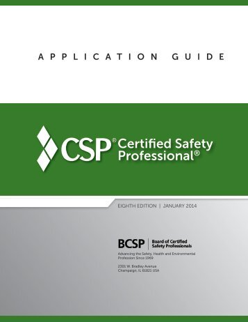 CSP Application Guide - Board of Certified Safety Professionals