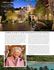 celebrate 30 years of luxury with rosewood hotels ... - Elite Traveler