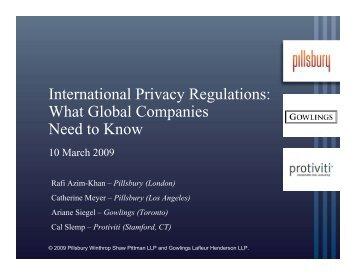 International Privacy Regulations - Pillsbury Winthrop Shaw Pittman ...