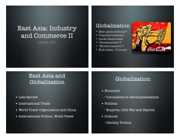 East Asia: Industry and Commerce II