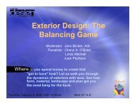 Exterior Design: The Balancing Game - International Builders' Show