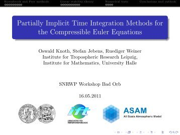 Partially Implicit Time Integration Methods for ... - C-SRNWP Project