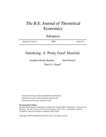 The B.E. Journal of Theoretical Economics