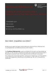 """Rainer Vallentin: """"Energieeffizienz versus Ästhetik ?"""" Einführung ..."""