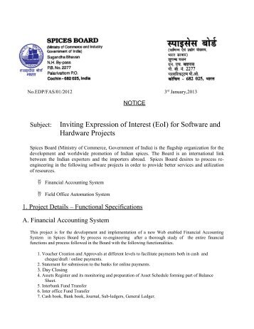 Invitation of expression of interest eoi dental council of india inviting expression of interest eoi spices board india thecheapjerseys Image collections