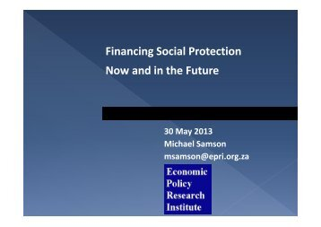 Financing Social Protection Now and in the Future