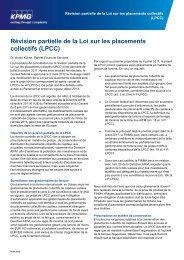 Révision partielle de la Loi sur les placements collectifs ... - KPMG