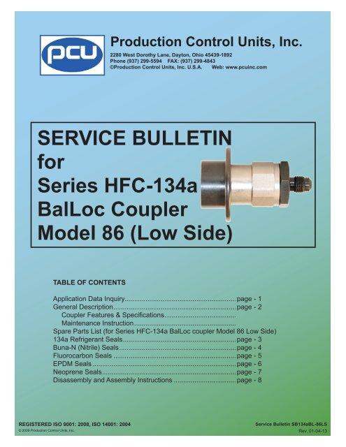 SB134a-86LS) Series HFC-134a BalLoc Coupler Model 86