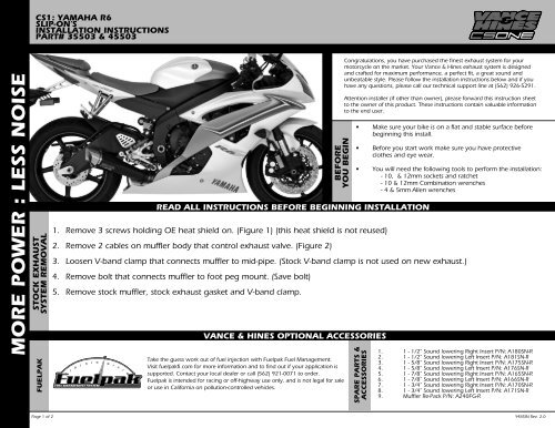 Instruction Sheet - Vance & Hines
