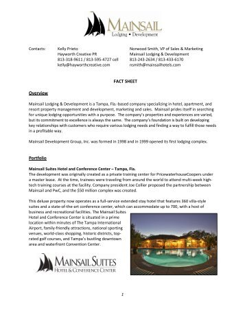 Mainsail Lodging & Development Fact Sheet - Scrub Island Resort ...
