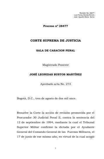 Fuero militar - Corte Suprema de Justicia