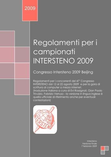 Regolamenti per i campionati INTERSTENO 2009